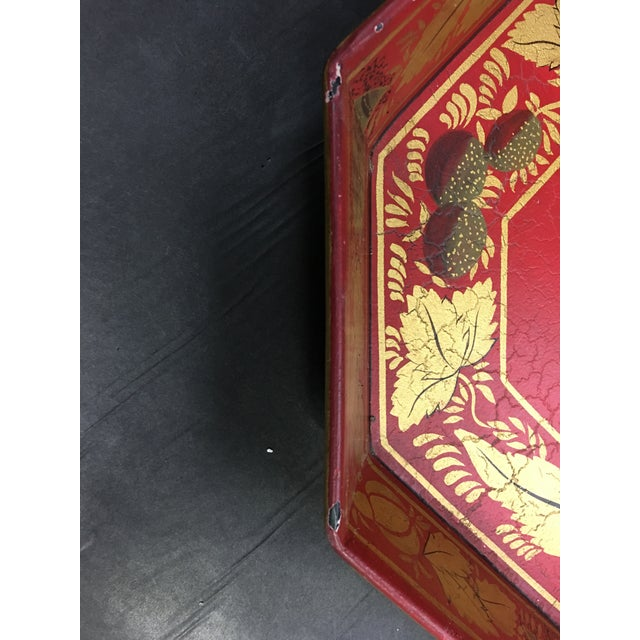 1980s Vintage Tole Tray Red With Gold Stencil Design For Sale - Image 5 of 9