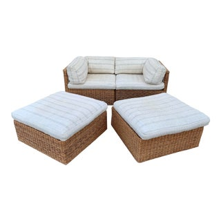 1960's Upholstered Wicker Modular Sectional- 4 Pieces For Sale