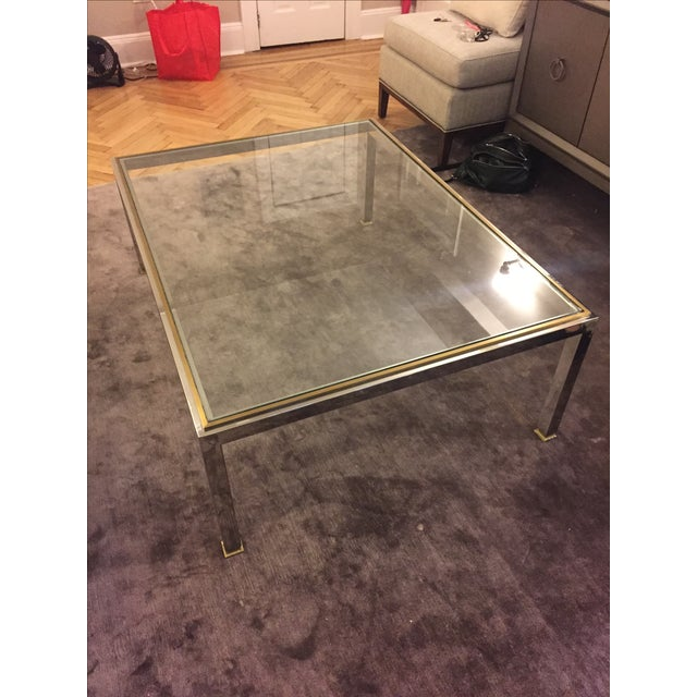 Modern Brass and Chrome Coffee Table - Image 2 of 4