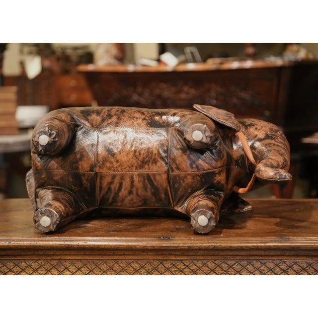 Vintage Spanish Brown Leather Elephant Sculpture Footstool For Sale In Dallas - Image 6 of 7