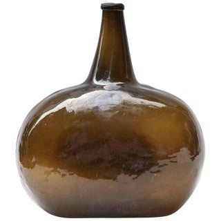 Shaped Green Bottle or Vase From Late 19th Century France For Sale