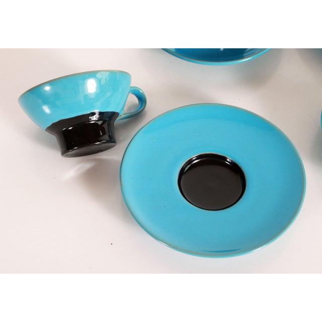 Bjorn Wiinblad Blue Mid Century Danish Modern Bjorn Wiinblad Pottery Tea Cups & Saucers - Set of 4 For Sale - Image 4 of 10