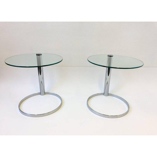 "A amazing pair of polish chrome and glass side tables by John Mascheroni for Swaim. New glass tops. Dimension: 22""..."