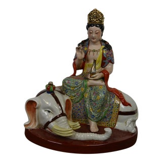 Mid 20th Century Chinese Porcelain Goddess on Elephant Statue For Sale