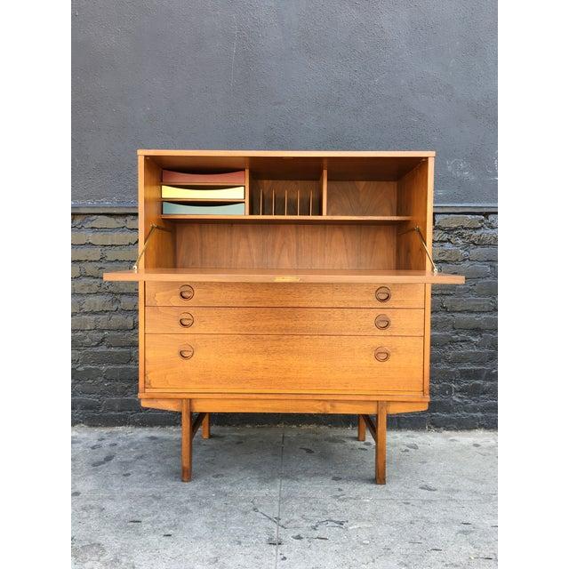 Swedish Modern Teak Wood Secretary Desk - Image 7 of 9