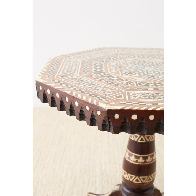 1900 - 1909 Pair of Middle Eastern Moorish Inlaid Drink Tables For Sale - Image 5 of 13