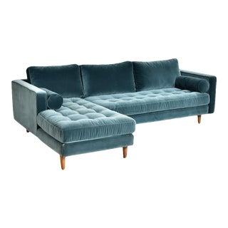 Modern Teal Velvet Sectional Sofa For Sale