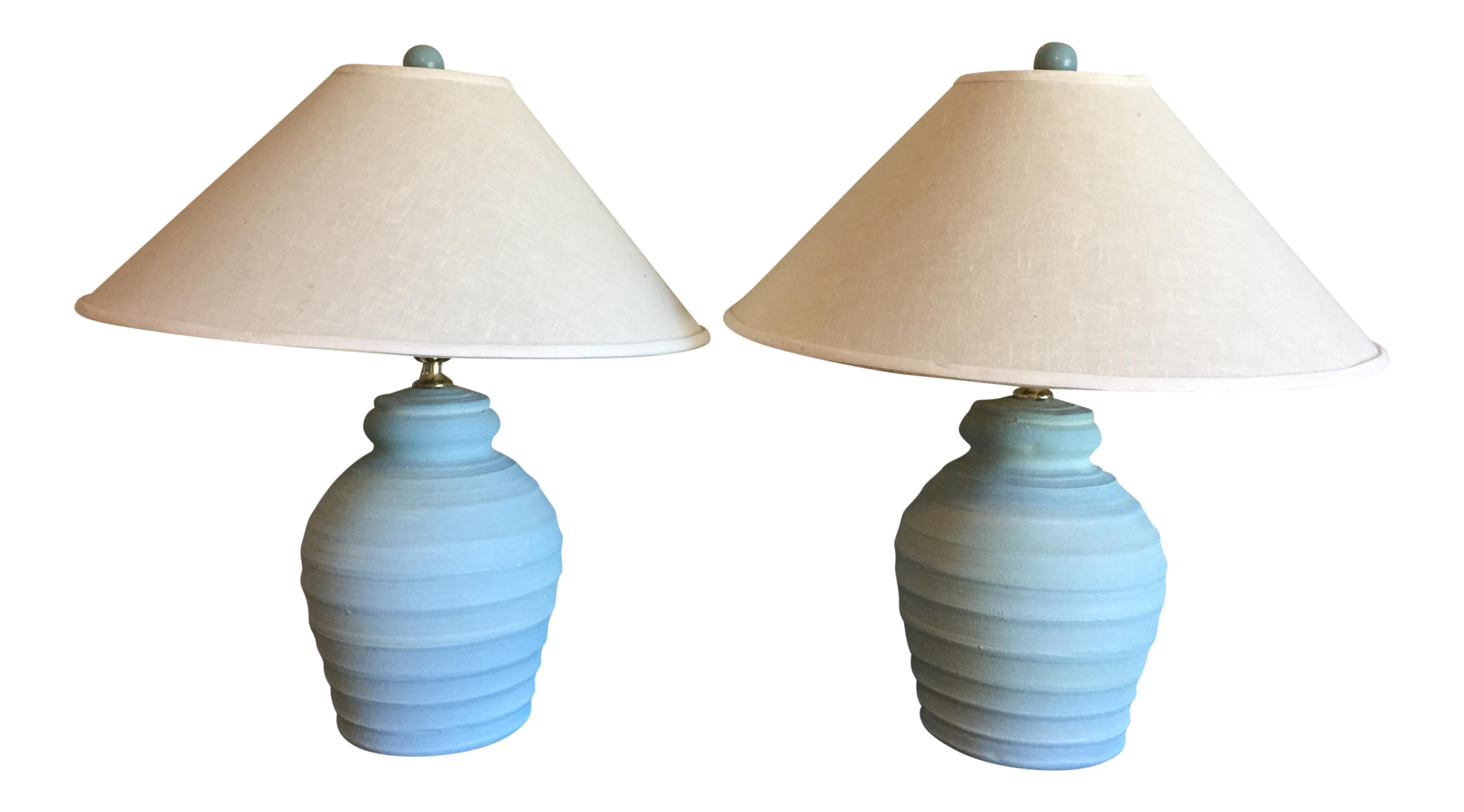 1900s Mid Century Modern Light Blue Ceramic Table Lamps Textured A