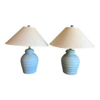 1900s Mid-Century Modern Light Blue Ceramic Table Lamps Textured - a Pair