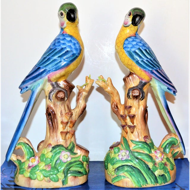Vintage Chinese Blue Majolica Parrot Figurines - a Pair For Sale In Houston - Image 6 of 15