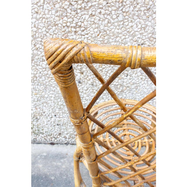 Tan Vintage French Bamboo and Rattan Dining Chairs- Set of 8 For Sale - Image 8 of 13