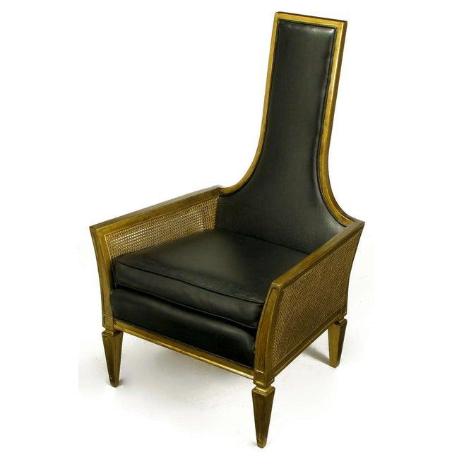 Islamic Antique Gilt Finish & Black Naugahyde Moorish Style Lounge Chair For Sale - Image 3 of 10