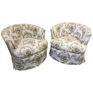 Cool Pair of Swivel Barrel Back Tufted Upholstered Club Chairs For Sale