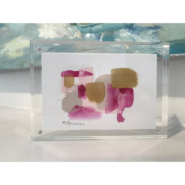 Abstract Lucite Framed Abstract Painting on Paper For Sale - Image 3 of 3