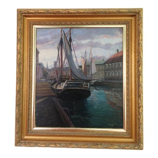 Early 20th Century Antique Gustave Magnussen Danish Style Oil Painting For Sale