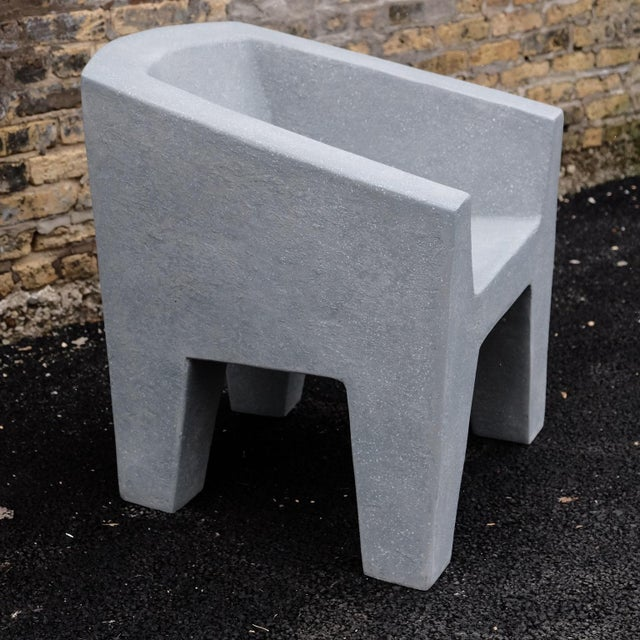 Not Yet Made - Made To Order Zachary A. Design Gray Stone Cast Resin 'Van Eyke' Club Chair For Sale - Image 5 of 9