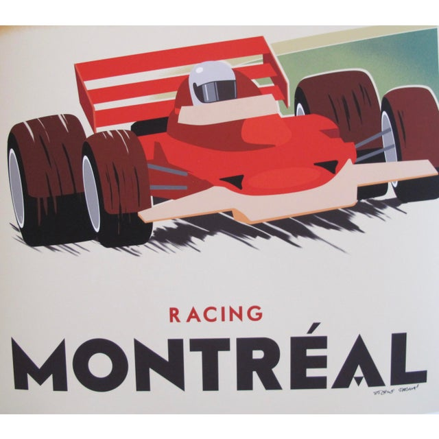 Contemporary Contemporary, Hand-Signed Montreal Racing Poster For Sale - Image 3 of 5