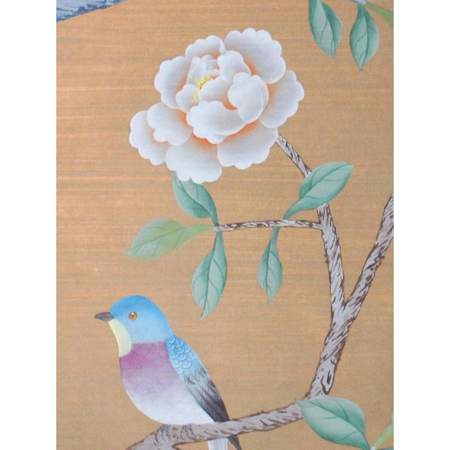"""Vintage hand-painted Chinoiserie silk wallpaper sample diptych (pair). Newly framed in solid wood 1"""" square moulding with..."""