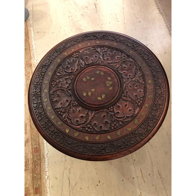 Wood Sized Round Moorish Anglo-Indian End Table For Sale - Image 7 of 8