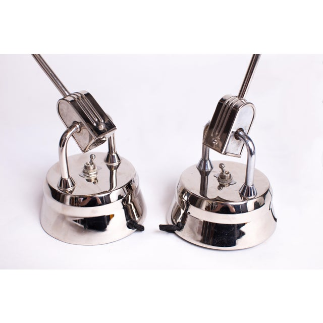 Abstract 1940s Charlotte Perriand Jumo 600 Round Chrome Table Lamps - a Pair For Sale - Image 3 of 6