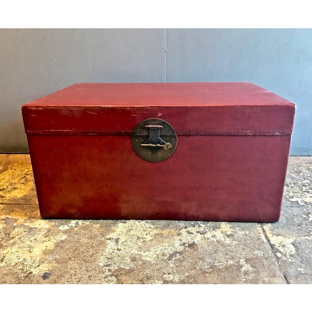 Large Chinese Lacquered Pigskin Trunk For Sale - Image 10 of 10