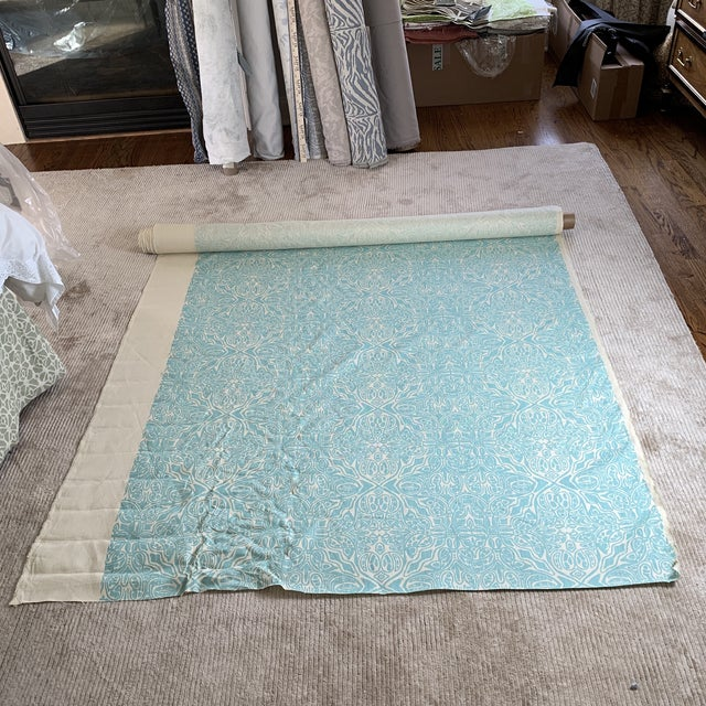 2010s Quadrille Turquoise Linen Fabric For Sale - Image 5 of 5