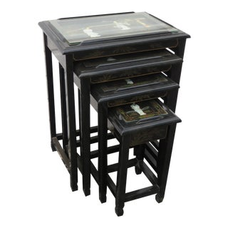 Oriental Black Painted Nesting Tables Set of Four For Sale