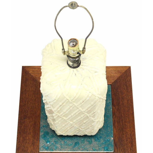 Bamboo Faux Bamboo Decorated Pattern Table Lamp For Sale - Image 7 of 9