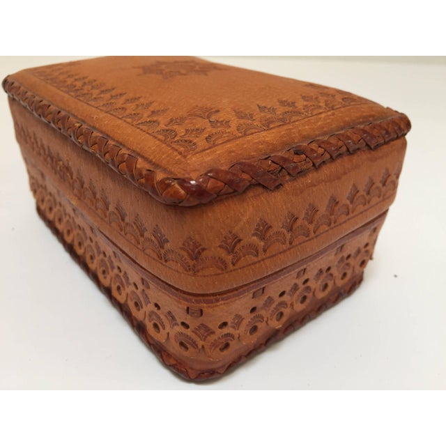Leather Vintage Brown Box Hand Tooled in Morocco With Tribal African Designs For Sale - Image 11 of 13
