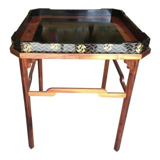 Koa Wood Side Table With Lacquer Tray 26""