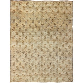 Keivan Woven Arts, Tu-Ars-744, Vintage Neutral Tones of Cream and Light Brown Turkish Rug- 8′2″ × 10′1″ For Sale