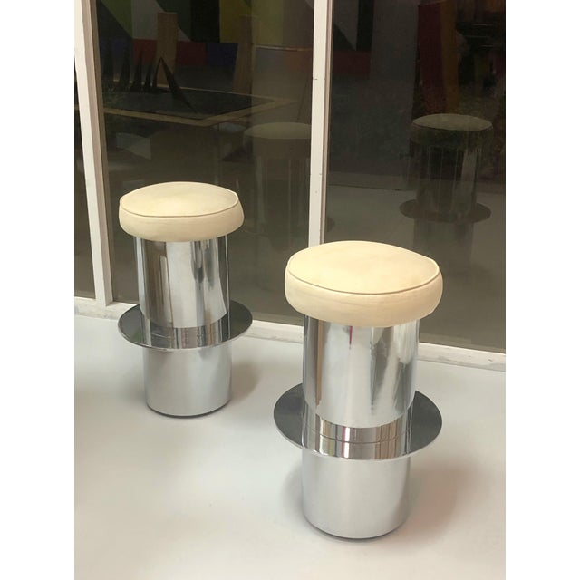 1980s Pair of Chrome Minimalist Bar Stools For Sale - Image 5 of 7