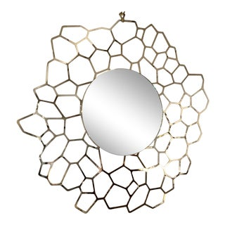 Caracole Modern Geometric Gold Finished on the Sunny Side Round Wall Mirror For Sale