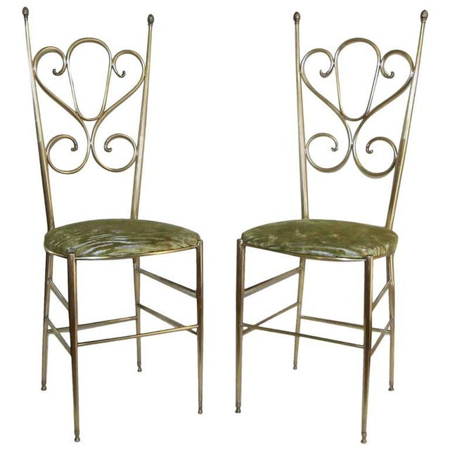 1950s Italian all Back Brass Chiavari Side Chairs - a Pair For Sale - Image 11 of 11