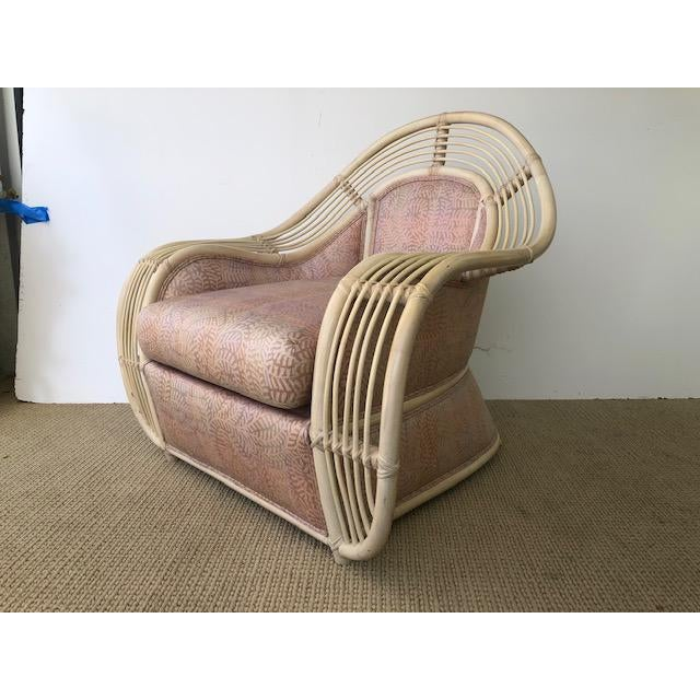 1980s Vintage Palm Beach Regency Rattan and Reed Lounge Chair & Ottoman For Sale In Miami - Image 6 of 11