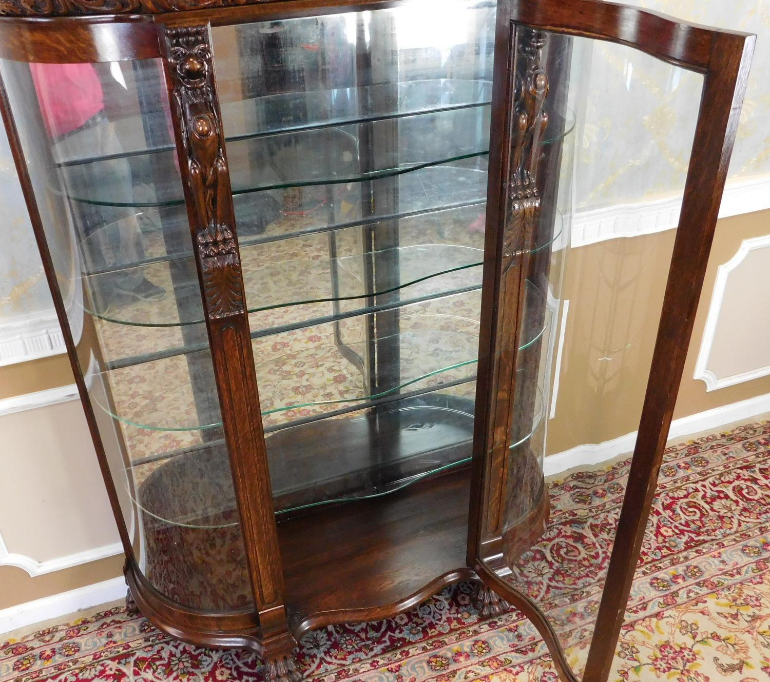 Antique Victorian Carved Figural Quartered Oak Curved Glass Curio Cabinet  C1900   Image 8 Of 11