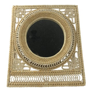 Boho Wicker Table Mirror For Sale