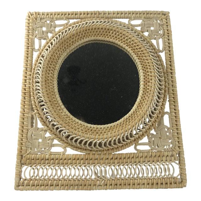 Boho Wicker Table Mirror For Sale