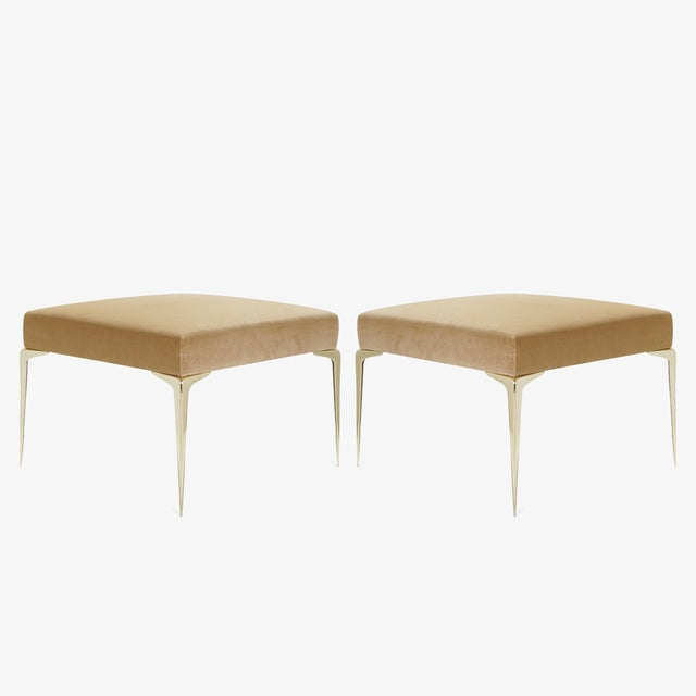 Colette Brass Ottomans in Camel Velvet by Montage, Pair For Sale - Image 9 of 9