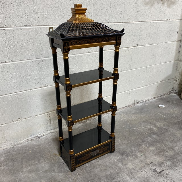 Black Gold Lacquer Pagoda Wall Shelf For Sale - Image 11 of 13