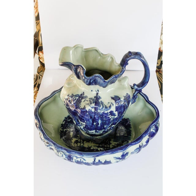 Blue Vintage Scenic Blue and White Porcelain Pitcher and Basin For Sale - Image 8 of 8