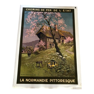 """Antique French """"La Normandie Pittoresque"""" Advertising Poster For Sale"""