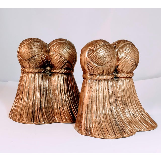 Vintage Brass Tassel Bookends a Pair For Sale - Image 4 of 9
