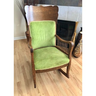 Late 19th Century Antique Oak Wood Mortise and Tenon Upholstered Rocking Chair Preview