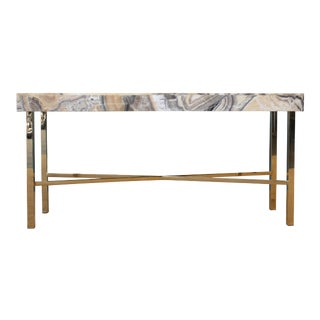 Onyx Top Console Table With Brass Base For Sale
