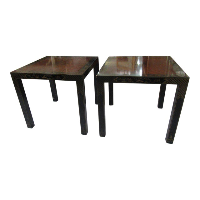 Asian Inspired Drexel Side Tables - a Pair - Image 1 of 9