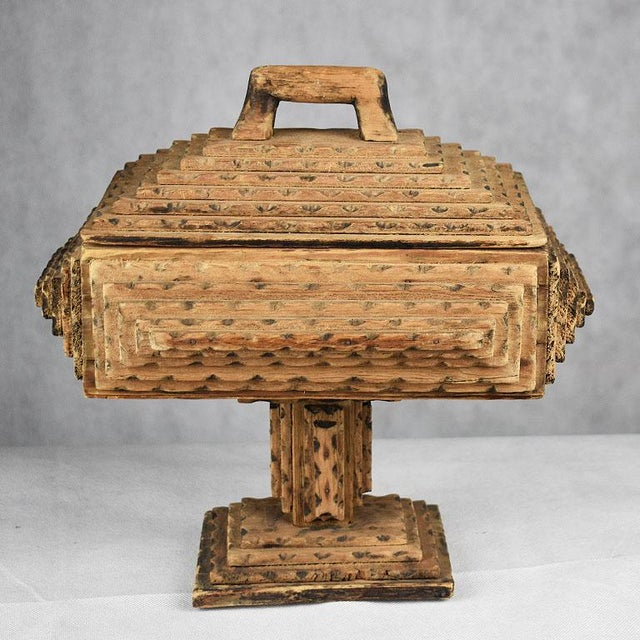 Antique Hand Carved Wood Tramp Art Keepsake Box With Lid on Stand For Sale - Image 6 of 8