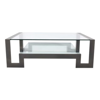 John Boone Cocktail Table in Steel and Glass For Sale