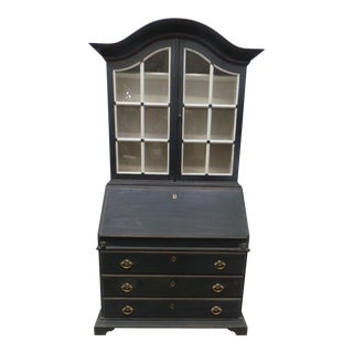 Swedish Glass Top Secretary Hutch