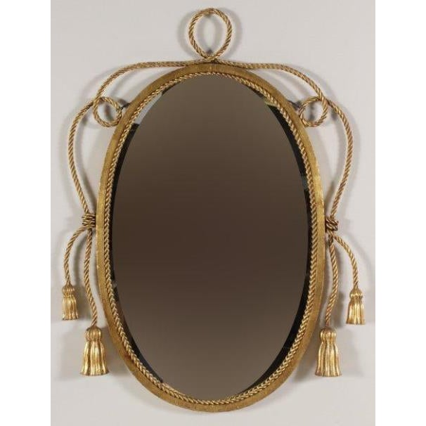 1950s Tassel and Rope Gilt Metal Mirror For Sale - Image 5 of 5